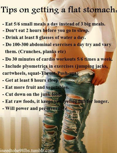 Tips on getting a flat stomach. ...