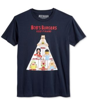 New World Men's Bob's Burgers Food Pyramid Graphic-Print T-Shirt  - Blue M