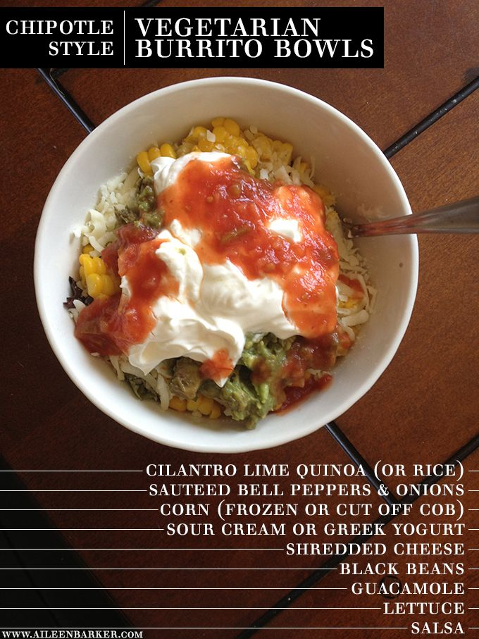 Chipotle Style Vegetarian Burrito Bowls: if using rice instead of quinoa use
