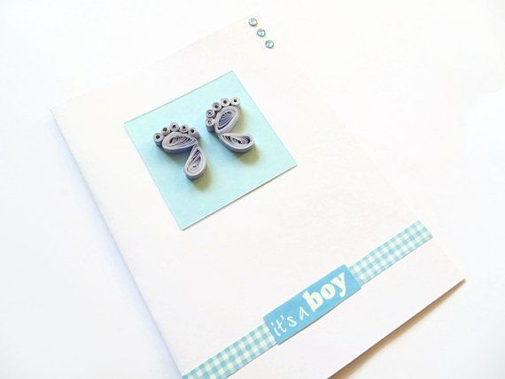Quilled baby card new baby boy cards new baby cards by KaisCards