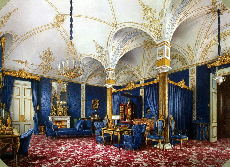 Interiors Of The Winter Palace. The Bedchamber Of Empress Maria Alexandrovna