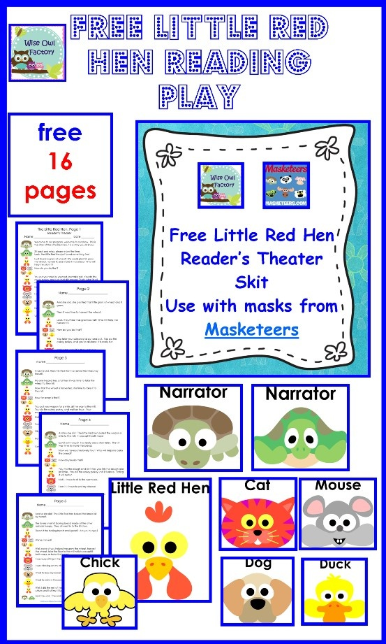 free reader's theater play for THE LITTLE RED HEN, with art by Masketeers, 16 page printable