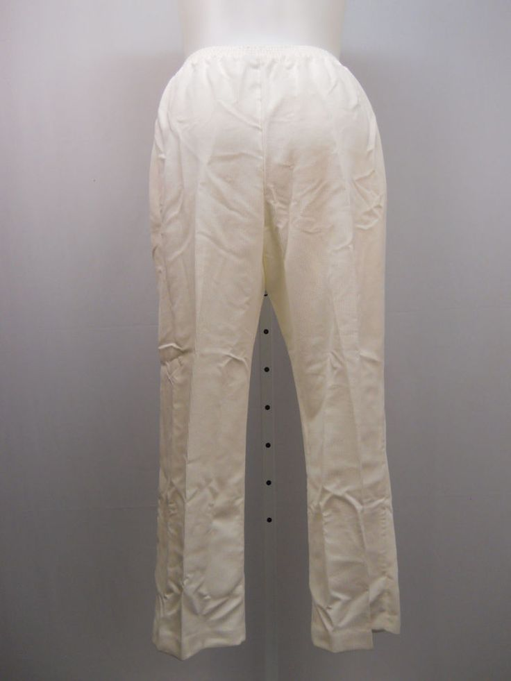 PLUS SIZE 16W Womens Corduroy Pants ALFRED DUNNER Solid Ivory Proportioned Short #AlfredDunner #CasualPants