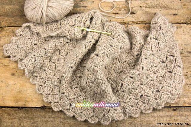 Интересный узор квадратиками крючком можно применить для вязания шарфа, палантина, снуда, пуловера,жилетаили интерьерной подушки.              Этим узором можно связать жилет, смотритездесь.   ист…