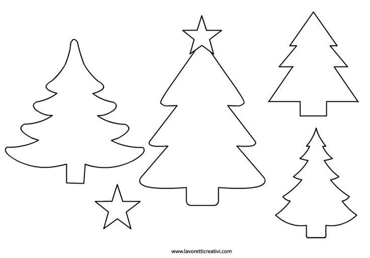 SAGOME DI NATALE Sagome di alberi di Natale per realizzare con i cartoncini decorazioni da attaccare alle porte e ai vetri delle finestre di casa o da usare come segnaposti per abbelliere la tavola...