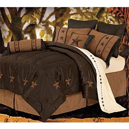 Laredo - Chocolate - 7 Piece Texas Comforter/Bed Set - Full Texas Bedspread