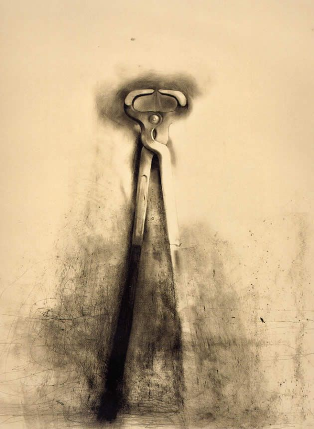 This charcoal drawing is one of Jim Dine's many beautiful drawings of tools. Jim Dine draws familiar, ordinary objects and gives them a life of their own. He treats the spaces in an around the objects with as much importance as the objects themselves and juxtaposes precise form with chaotic, yet controlled application of tone.