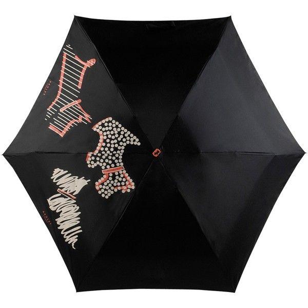 Radley Fleet Street Compact Umbrella, Black ($36) ❤ liked on Polyvore featuring accessories, umbrellas, radley umbrella, logo umbrellas and radley