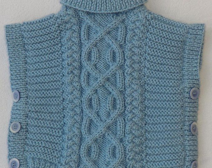 Poncho - Pull sans manche - En laine - Enfant Bébé Garçon - Taille 12 à 18 mois - Coloris bleu - Style Irlandais - Tricoté à la main