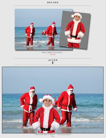 Create unique family Christmas photos with our retouching services.  http://www.freephotoediting.com/samples/christmas/010_add-child-to-beach-christmas-photo.htm