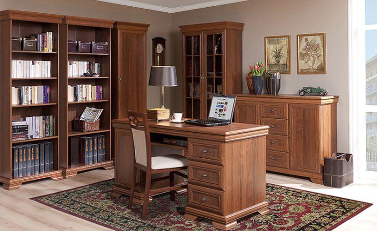 Biuro i gabinet BOLTON, orzech ecco  #meble #dom #wnetrza #wystrój #mieszkanie