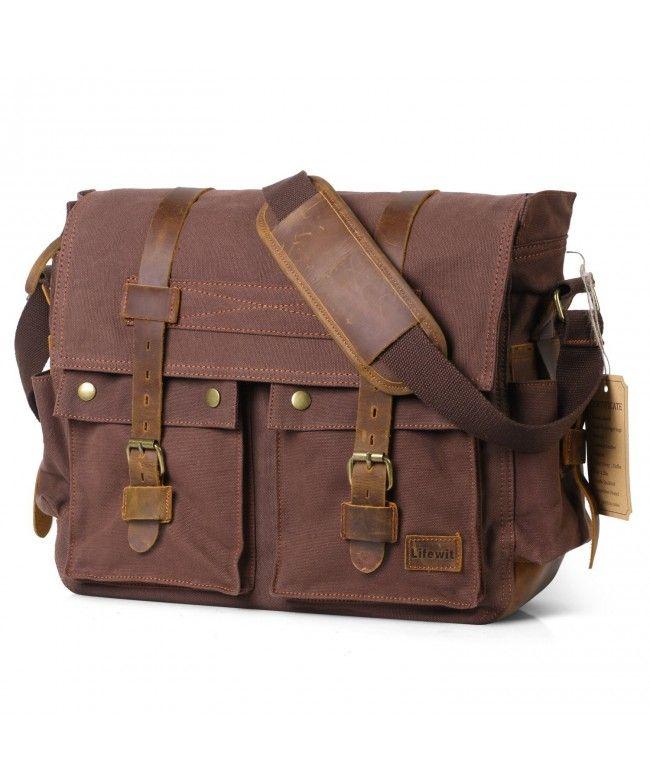 Messenger Bag Men/'s Vintage  Leather shoulder Briefcase Laptop Bags