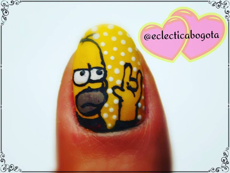 homer simpson wanna rock. nailart hope enjoy the complet desing with the simpsons cover of guns and roses. by eclectica