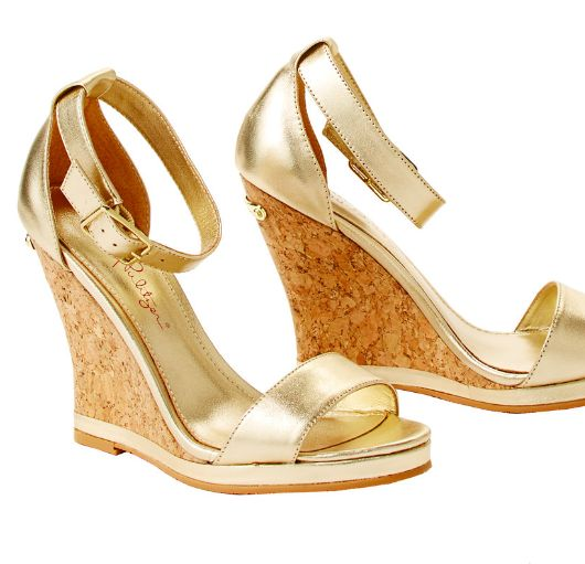 Lilly Pulitzer Karen Ankle Strap Wedge in Gold Metallic