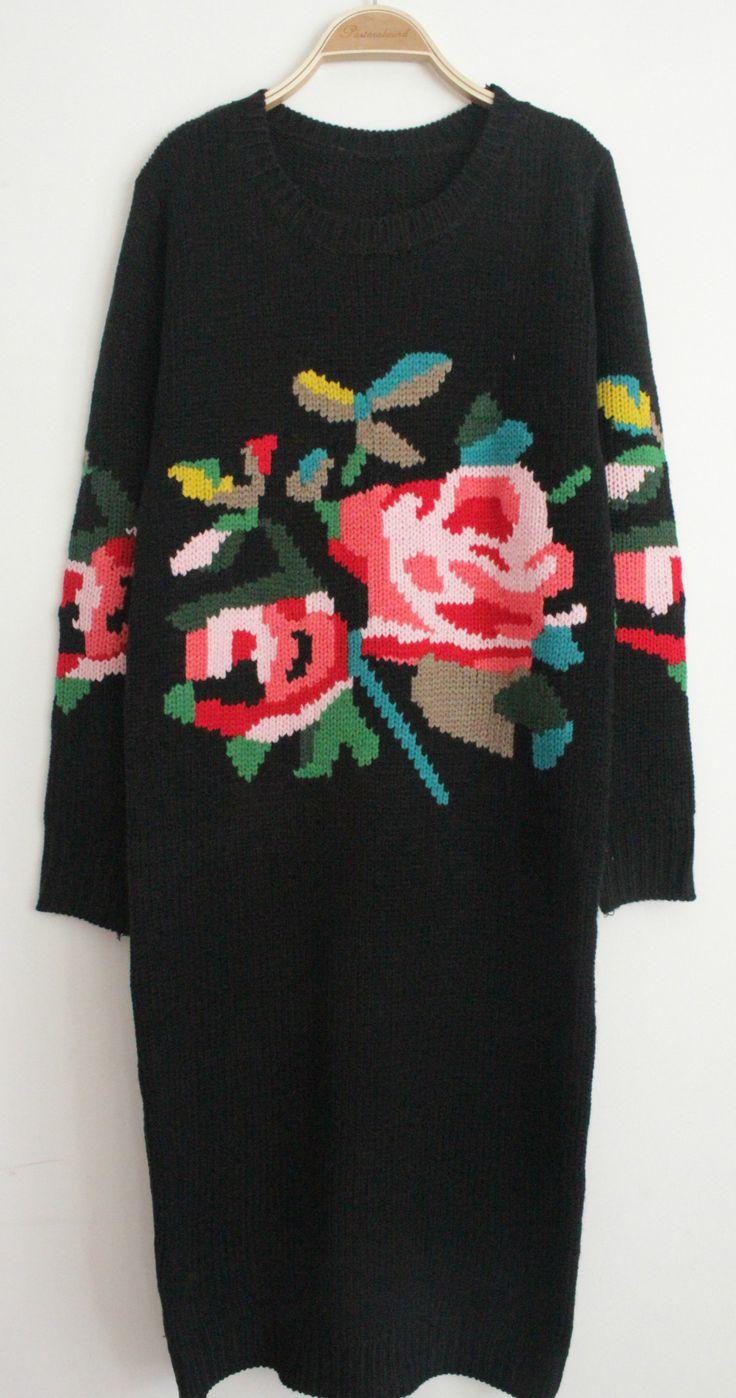 Black Long Sleeve Rose Pattern Sweater Dress US$43.59