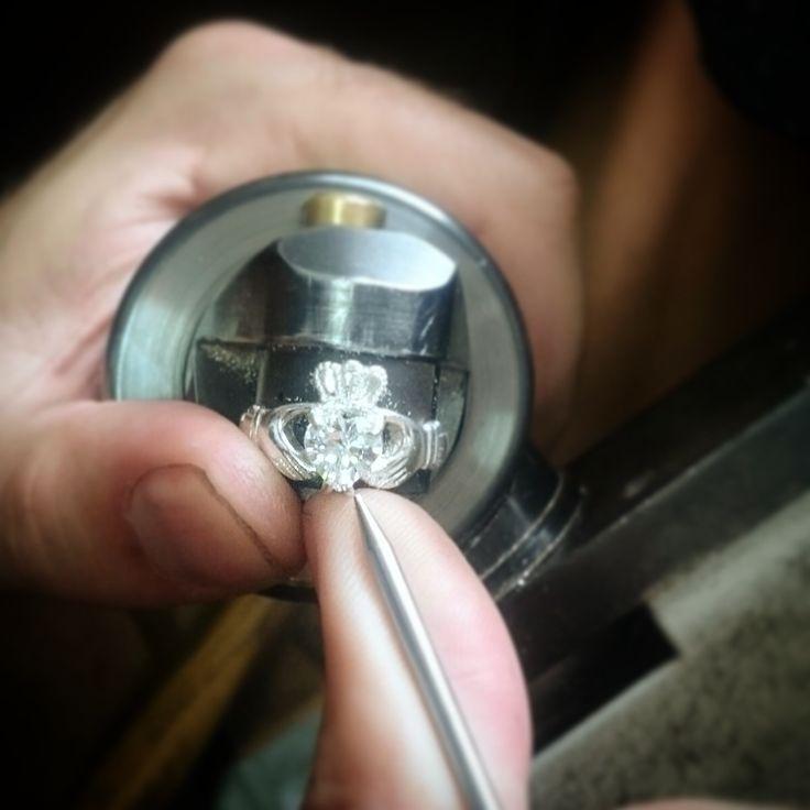 Handcrafting a claddagh ring in my workshop in Dublin, Ireland.