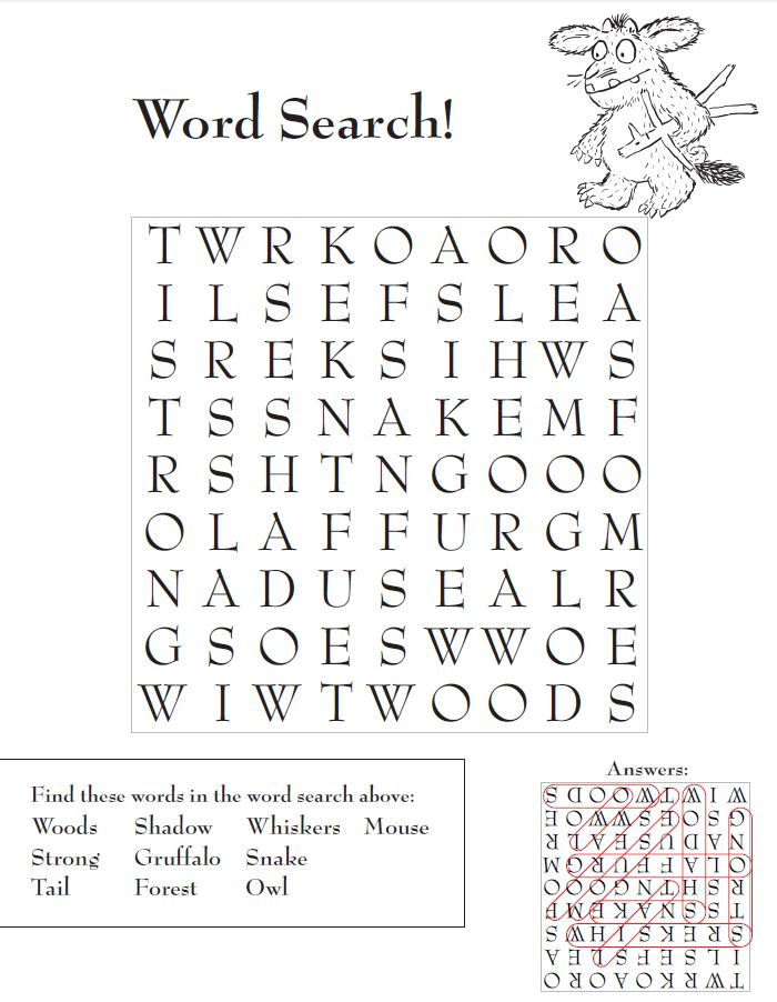 Have fun with The Gruffalo! Print out this word search and