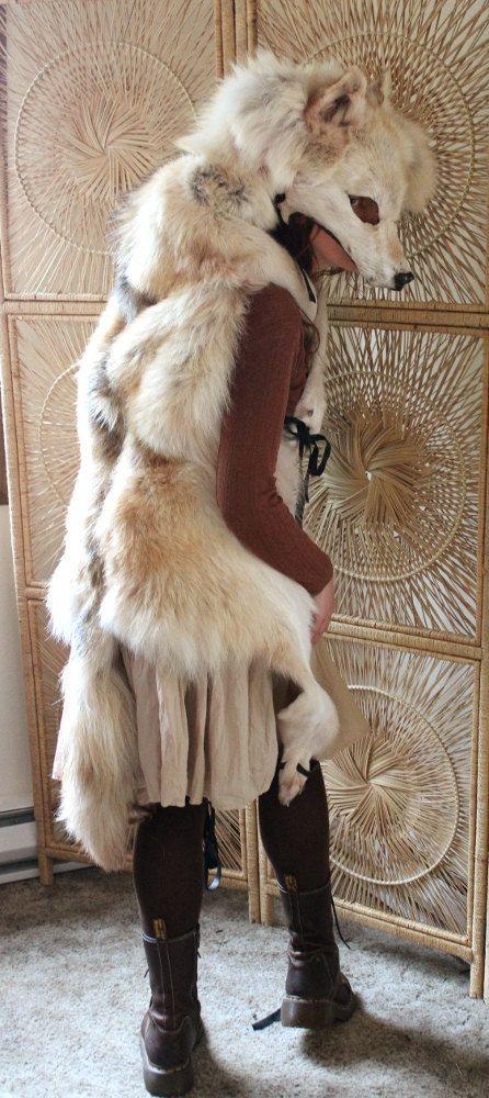 Wolf totem headdress real golden wolf full skin by thegreenwolf, $1000.00