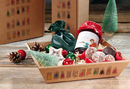 Präsentkorb flach HAPPY CHRISTMAS aus naturbelassener Wellpappe