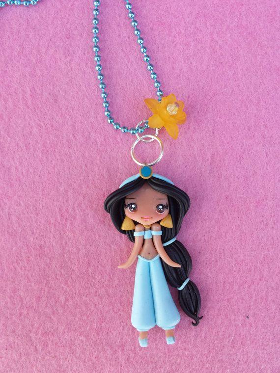 Jasmine polymer clay necklace, fimo