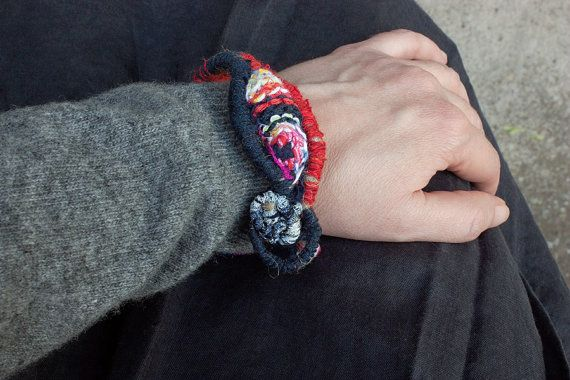 Hand wrapped bracelet fiber art jewelry with knitted and