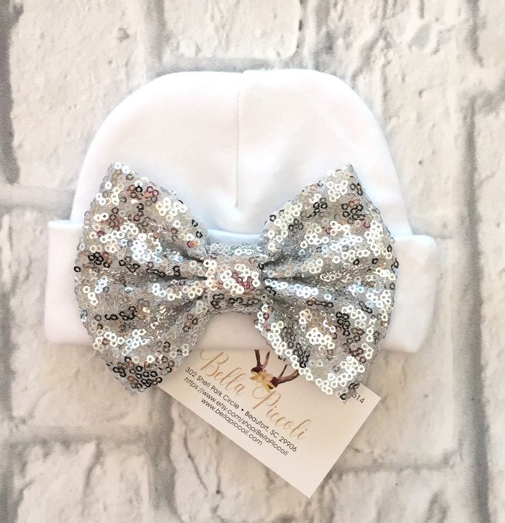 A personal favorite from my Etsy shop https://www.etsy.com/listing/529950533/newborn-hats-sequin-bow-newborn-hats