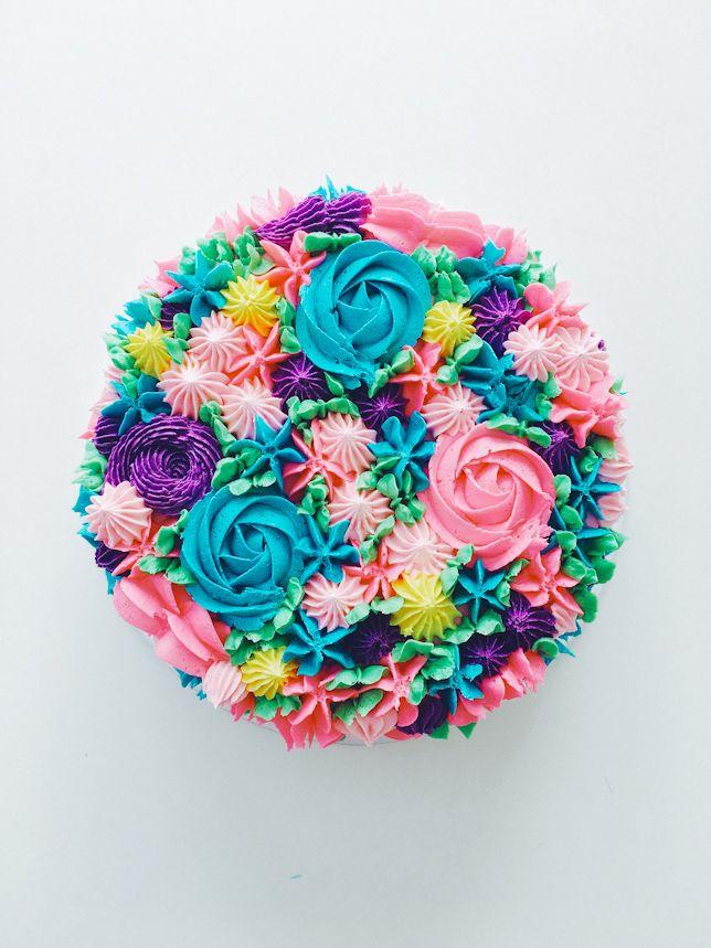 Piped Rainbow Buttercream Flower Cake | Coco Cake Land - Cake Tutorials, Cake Recipes, Cake Blog, Cakes Vancouver