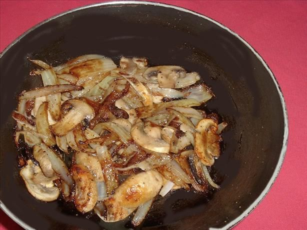 Mushrooms and Onions for Steak  								This is how I sauté mushrooms and onions to serve with grilled steak. I've been doing it this way for years and never really thought of it as a recipe until today when my husband mentioned that it was the best he'd ever had. If you have leftovers, make an omelet with them with smoked swiss cheese and serve with hot, steaming bowls of tomato soup with basil. Just trust me on that.