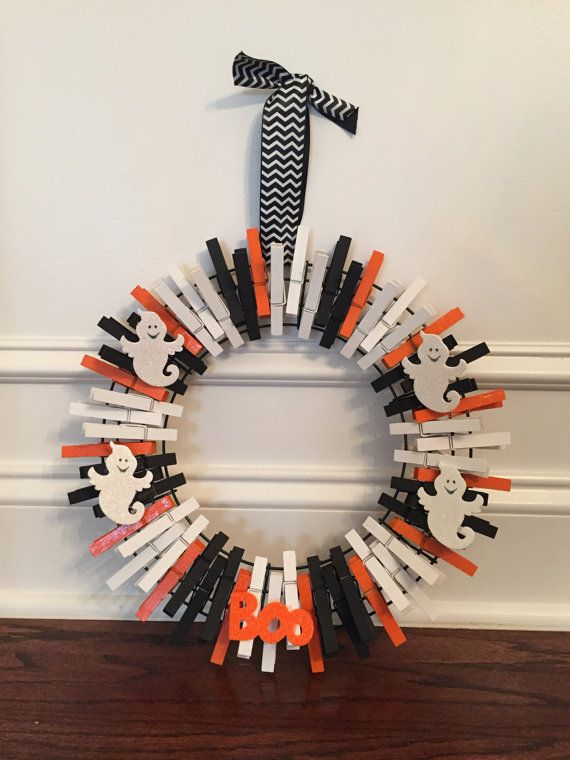 Ghost Clothes Pin Wreath  12 Inches by SonyAndSuzisShop on Etsy