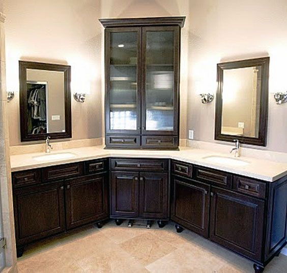 Art Exhibition corner bathroom vanity double sinks