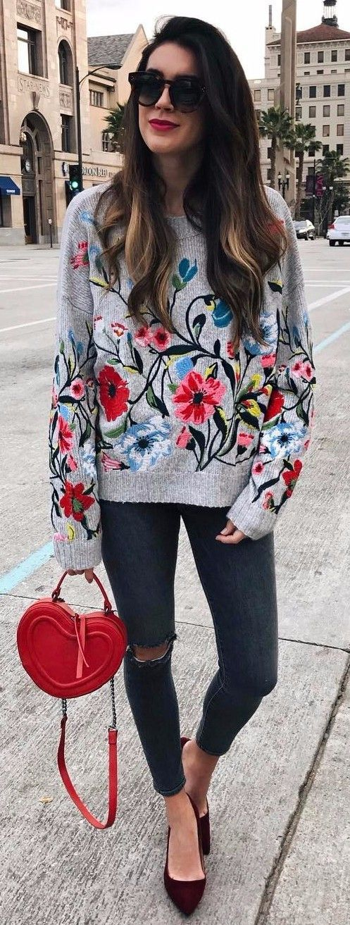 embroidered top pairing with jeans