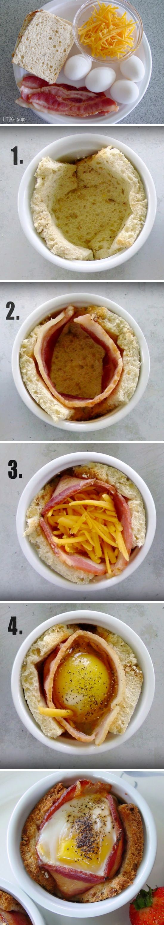 Breakfast Cups - I would butter the bread and place the buttered side against the muffin tin.