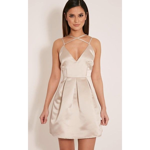 Hilari Champagne Strappy Satin Skater Dress ($19) ❤ liked on Polyvore featuring dresses, yellow, yellow prom dresses, satin cocktail dress, skater dress, champagne cocktail dress and champagne dress