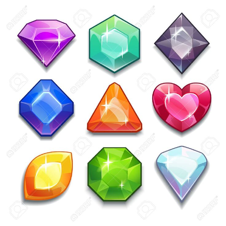Gemas vector de dibujos animados y diamantes iconos establecidos en diferentes colores con diferentes formas, aisladas en el fondo blanco. Foto de archivo - 38671613