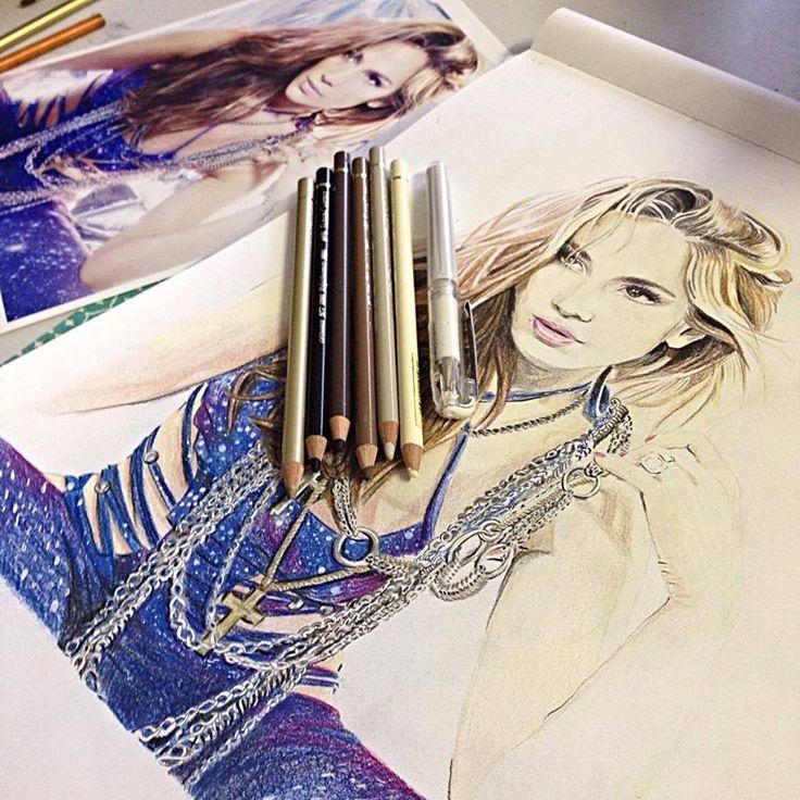 Jenifer Lee - Art Jennifer Lopez portrait - progress Polychromos