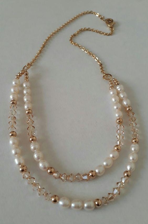09b53c146c9a Perlas de río y cristales Swarovski. Creaciones Little Flower. Bisutería  fina 100% artesanal.