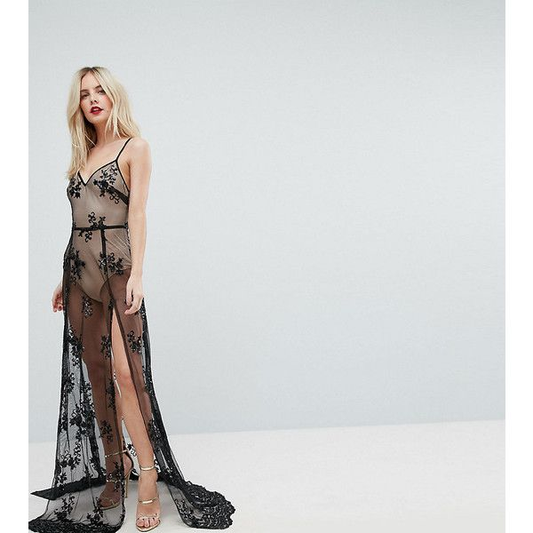 NaaNaa Petite Sheer Sequin Lace Maxi Dress with Bodysuit ($105) ❤ liked on Polyvore featuring dresses, black, petite, petite maxi dresses, lace camisoles, midi cocktail dress, petite cocktail dress and lace cocktail dresses