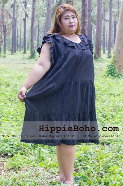 26a2fe52753 No.014 - XS-5X Regular Curvy Plus Size Black Cotton Gauze Knee Length Dress  Bohemian Summer Clothing Tiered Women s Mini Dress Hippie Boho Gypsy Style