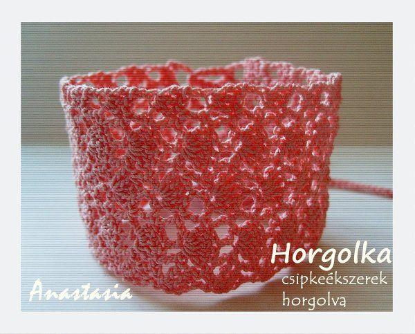Anasztázia - rózsaszín horgolt karkötő