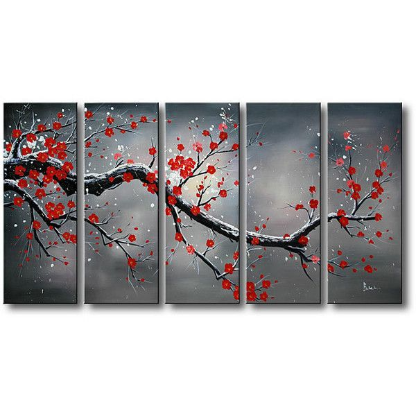 'Winter Plum' 5-piece Oil Hand Painted Canvas Art Set (420 RON) ❤ liked on Polyvore featuring home, home decor, wall art, flower canvas painting, black & white wall art, canvas panels, oil painting and canvas oil painting