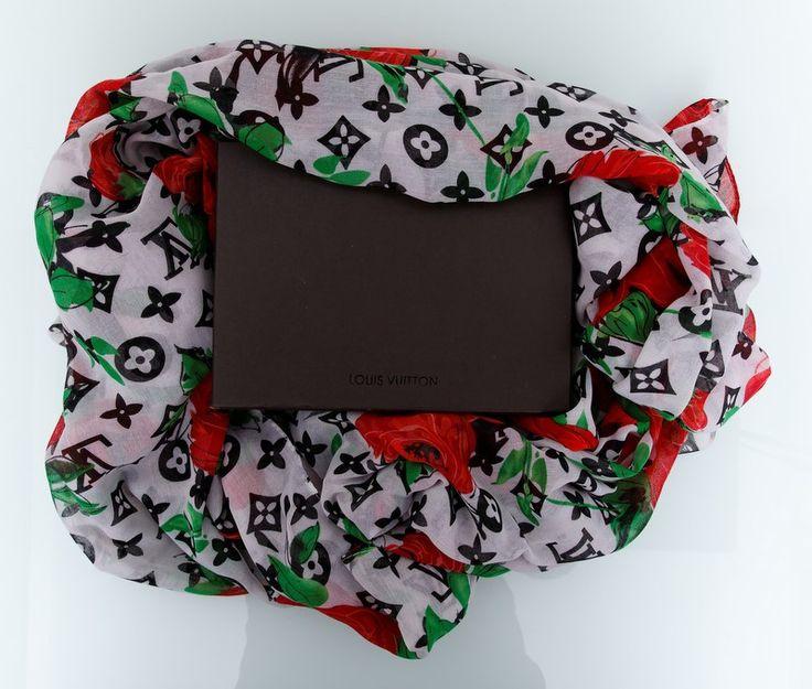 Большой хлопковый шарф Louis Vuitton с цветами