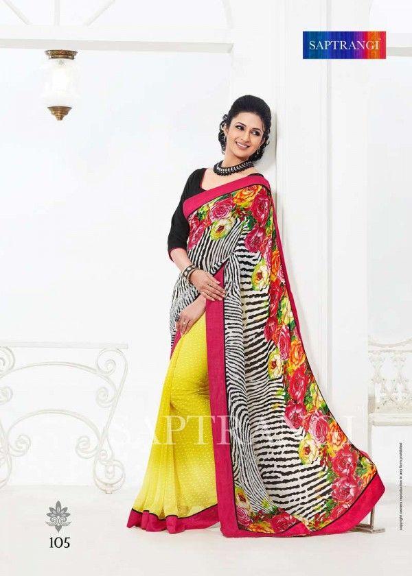 Saptrangi Yellow Georgette Designer Saree In Surat Saree Fabric: Soft Georgette, Digital Print With Stone Work. Border Fabric: Pure Heavy Silk. Blouse Fabric: Soft Georgette