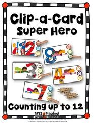 COUNTING SUPER HERO NUMBERS (MATH CENTERS CLIP-a-CARD) ! Enter for your chance to win 1 of 5. COUNTING SUPER HERO NUMBERS (MATH CENTERS CLIP-a-CARD)   (11 pages) from RFTS PreK-Kindergarten on TeachersNotebook.com (Ends on on 04-15-2017) ENTER TO WIN! FOLLOW ME FOR MORE FREEBIES & GIVEAWAYS! A fun counting activities. Students can use to count the stars in the circles and clip the one that matches the number in the picture card. Students will count up to 12 to find the correct answers…