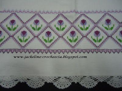 Jackeline-Crochê&cia: Ponto cruz com tulipas, vagonite e bico de crochê