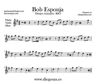 Partitura de Bob Esponja para Flauta Travesera, flauta dulce y flauta de pico BSO Dibujos Animados Music Flute and Recorder Sheet Music Bob Sponge