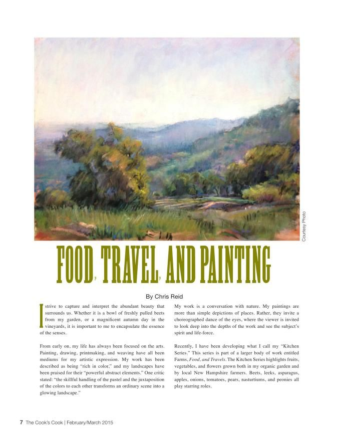 "Artist Chris Reid writes about the difference between painting a still life and painting ""en plein air"" (outdoors). http://www.thecookscook.com/emagazine/2015-02/html5/index.html?page=12"