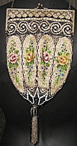 Antique Art Nouveau Beaded Reticule Purse Handbag