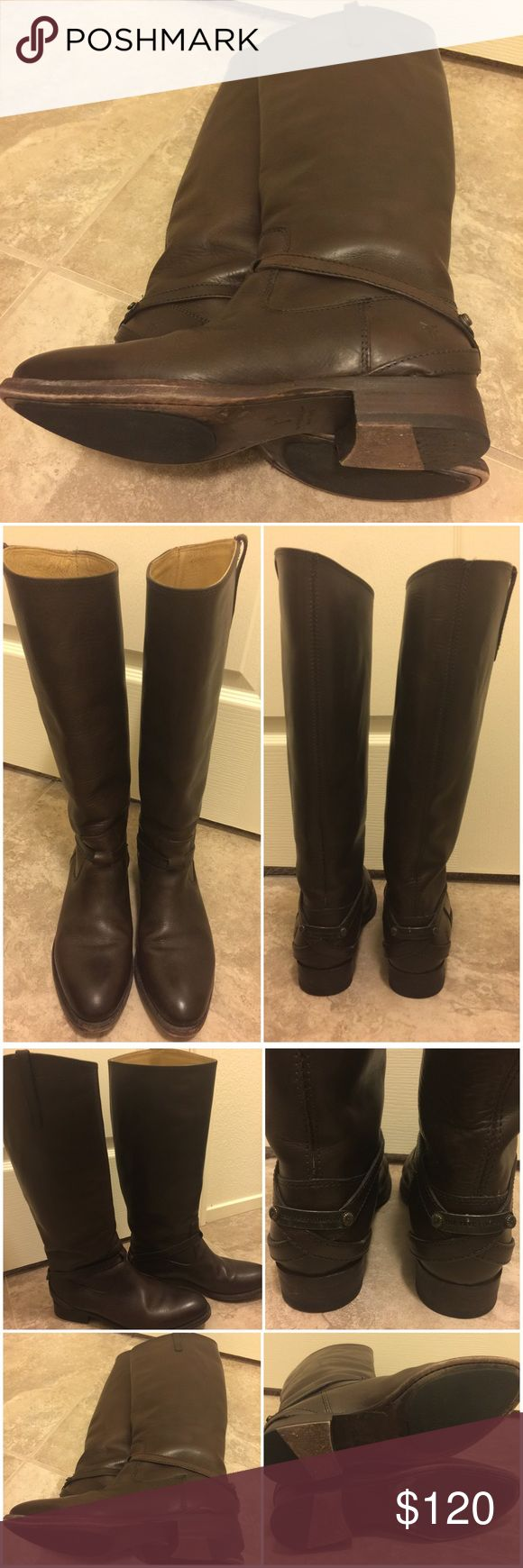Frye Riding Boots -- Chocolate Brown Beautiful Frye Riding Boots in chocolate brown. Excellent condition. These, along with the other pairs I've posted in the past, are just a tad bit too snug for my liking when I wear thicker socks. I'm clearing out my closet to make room for that perfect pair of Frye boots that fit exactly how I want them to fit; I'm still on the hunt for them 😊 The boot height measures 15' w/ a 1' heel to total 16 inches. Calf circumference: approx 14.5'. Pls. note these…