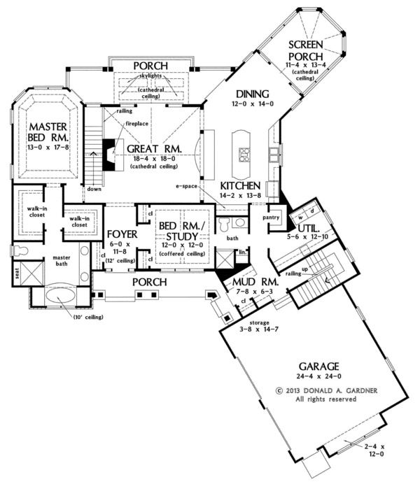 Craftsman Style House Plan - 4 Beds 4.00 Baths 2896 Sq/Ft Plan #929-2 Floor Plan - Main Floor Plan - Houseplans.com