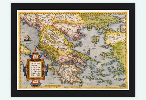 Old Map of Greece 1572 Vintage map by OldCityPrints on Etsy, $24.00